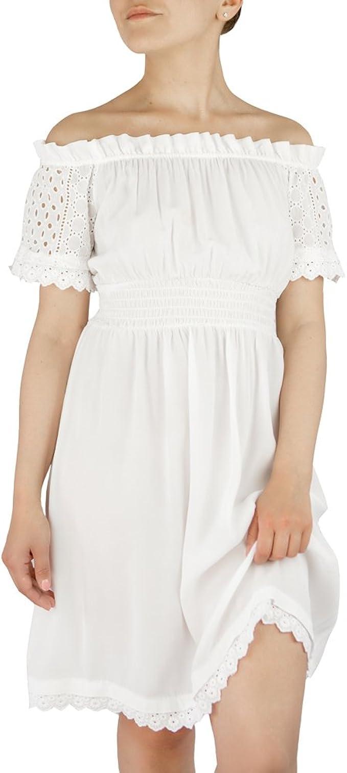 Moda Italy Damen Kleid Fur Sommer Weiss Carmen Ausschnitt Schulterfrei Viskose Spitzenstoff Kurzarm S 34 36 Amazon De Bekleidung