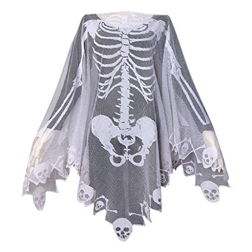 GRACIN Skeleton Lace Poncho Skull Bones Halloween Costume Cape (One Size, -