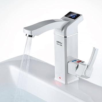 Pantalla LCD muestra la temperatura cobre frío/caliente grifo monomando para baño 4 puntos latón