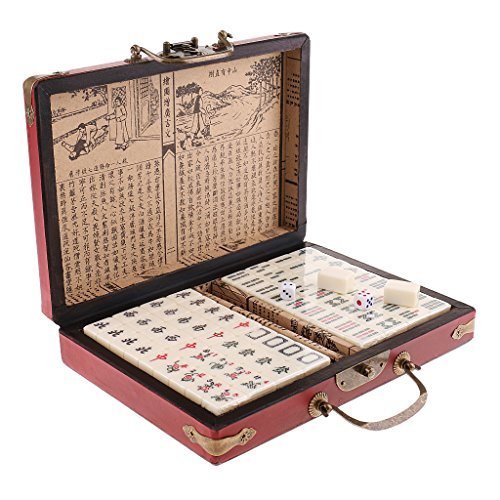 homyl Collectible中国アンティーク麻雀テーブルボードゲームトラベルサイズのピクニック