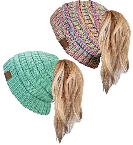(BT-6020a-2-54-816.41 Beanie Tail Bundle - Mint & Rainbow #11 (2 Pack))