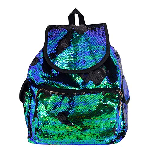 Van Caro Large Sequins Backpack Drawstring Daypack for Teens -
