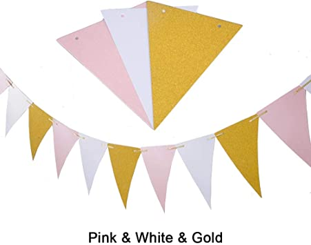 Baby Shower 3 Pack 30 Feet Vintage Style Pennant Banner for Wedding MerryNine Triangle Flag Bunting Banner Triangle Flag - Black White Gold Glitter Event /& Party Supplies 15pcs Flags
