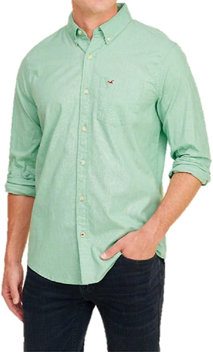 Hollister - Camisa Casual - Manga 3/4 - para Hombre Verde Verde X-Large: Amazon.es: Ropa y accesorios