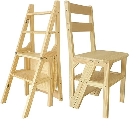 Escalera Plegable de 4 escalones, sillas de Escalera de Madera de ...