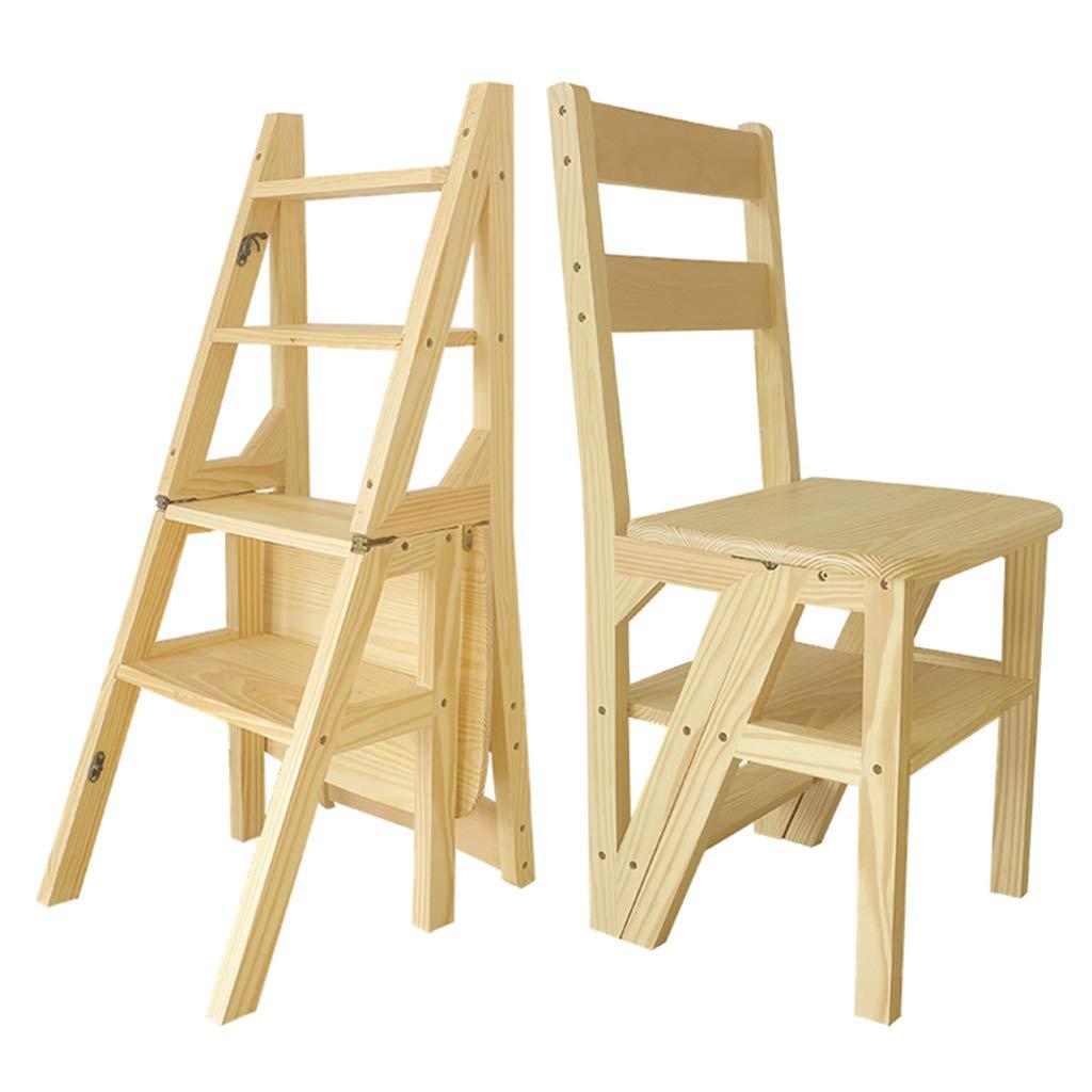 折るステップ梯子4つのステップ、木の梯子スツールの脚立階段、レトロの梯子の棚または家/台所/屋外のためのステップ梯子の上昇の階段 B07RGH9V1L Wood