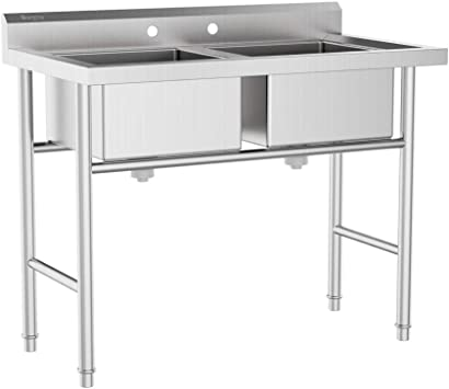 Amazon Com Bonnlo Commercial 304 Stainless Steel Sink 2 Compartment Free Standing Utility Sink For Garage Restaurant Kitchen Laundry Room Outdoor 35 8 W X 21 3 D X 40 H Home Improvement
