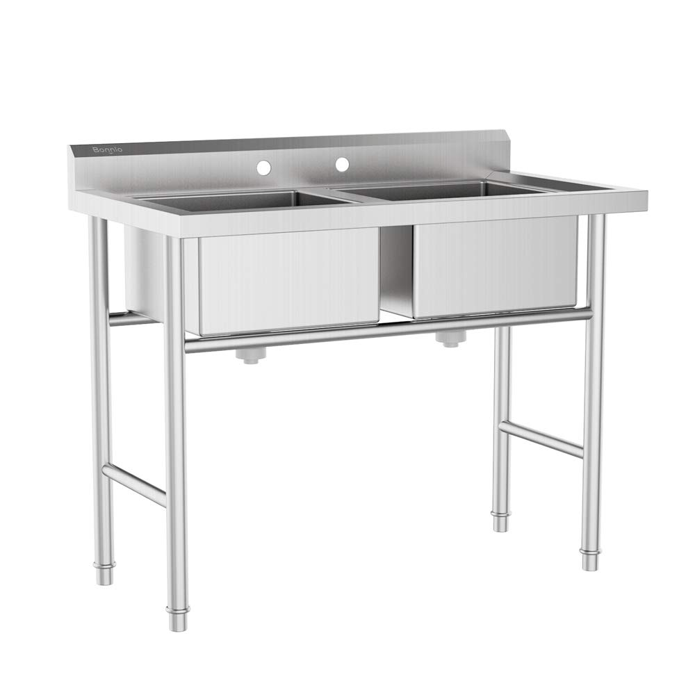 Bonnlo Commercial 304 Stainless Steel Sink 2 Compartment Free Standing Utility Sink for Garage, Restaurant, Kitchen, Laundry Room, Outdoor, 37'' W x 22.5'' D x 40'' H