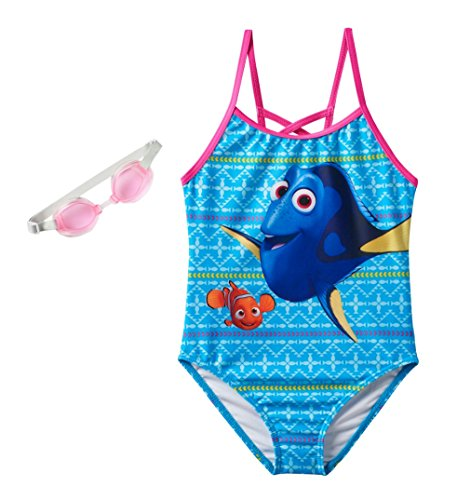 Disney Little Girls Movie Character One-Piece Fashion Swimsuit (5/6, Dory Blue) (Disney Swimsuit Piece One)