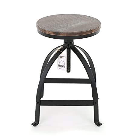 IKAYAA Adjustable Height Swivel Kitchen Dining Chair Round Bar Stool Industrial Style Natural Pinewood and Steel