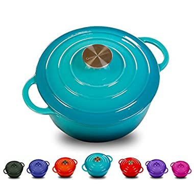 Enameled Cast Iron Dutch Oven With 360 Degree Water-Cycling System, Dual Handles (3.7 QT, Classical Turquoise)