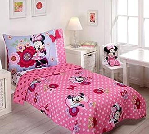 Disney Minnie Mouse Bow Power 4-Piece Toddler Bedding Set (Cheap Butterfly Stuff)