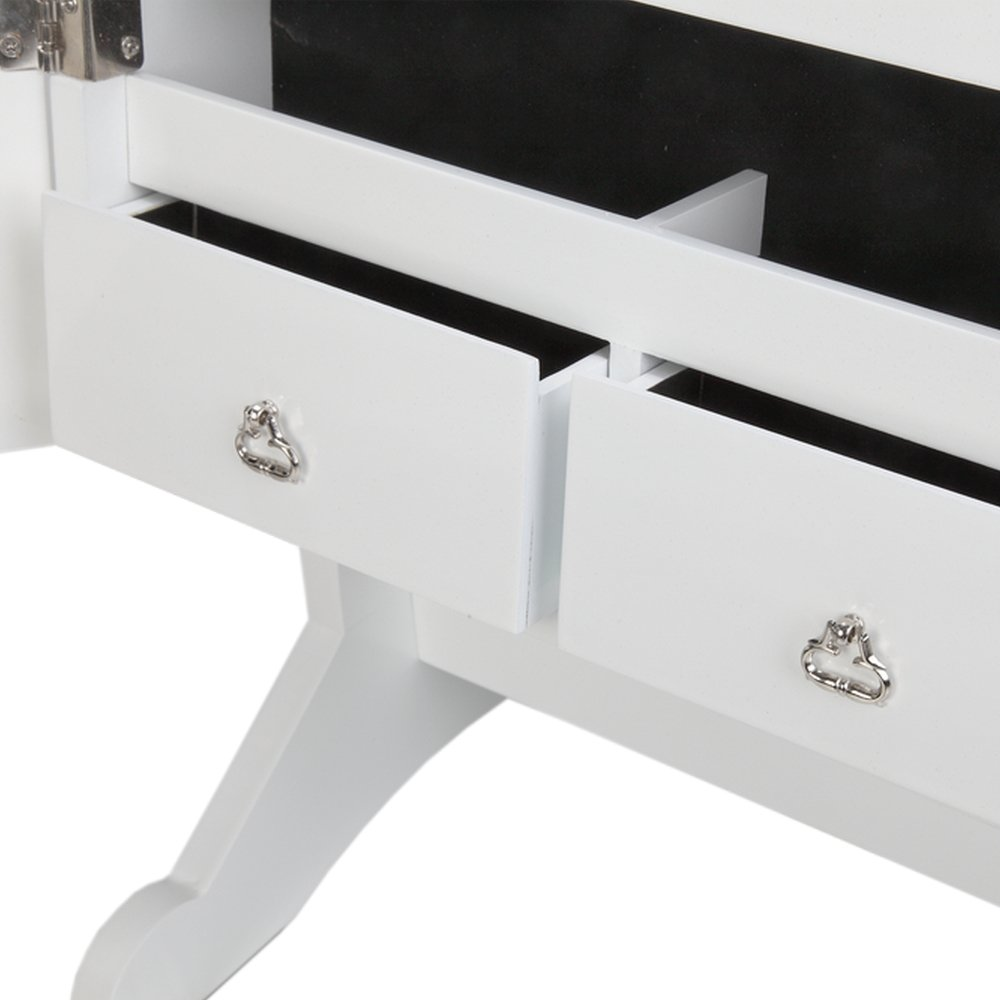 Homegear Modern Mirrored Jewelry Cabinet with Stand Armoire Organizer Storage White by Homegear (Image #4)