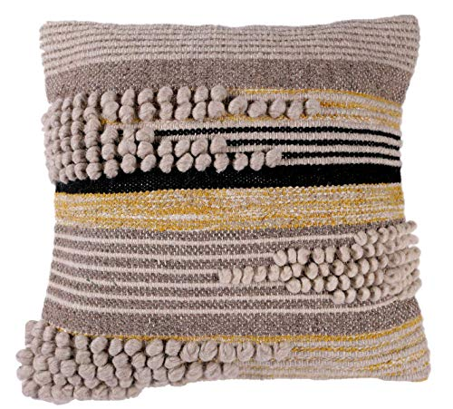Hillside Home Hand Woven Decorative Throw Pillow Cover for Couch, Sofa or Bed Gray, Yellow, Black- 18 in. X 18 in, 100% Wool, Cotton, Tufted, Mid Century Modern, Boho, Embroidered Cushion Case (Gray Pillow And Yellow)