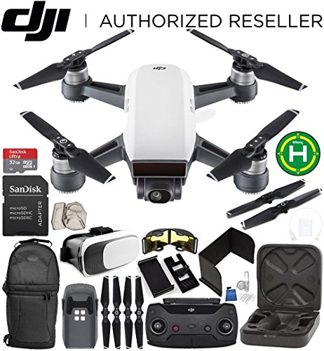 DJI Spark Portable Mini Drone Quadcopter (Alpine White) + DJI Spark Remote Controller EVERYTHING YOU NEED Starter Bundle (Speed Case Racer Carrying)