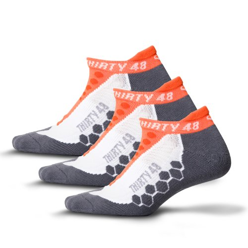 Thirty48 Running Socks Unisex, CoolMax Fabric Keeps Feet Cool & Dry - Mens 3 Pack Quarter Sock