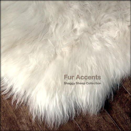 Fur Accents Shaggy Plush Faux Fur Sheepskin Accent Rug Off White Free Form Shape 5 x8