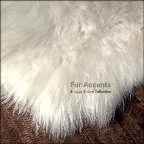 Fur Accents Shaggy Plush Faux Fur Sheepskin Accent Rug Off White Free Form Shape 5 x8
