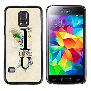 LECELL--Funda protectora / Cubierta / Piel For Samsung Galaxy S5 Mini, SM-G800, NOT S5 REGULAR! -- I Love You Teal Text U Heart Boyfriend --