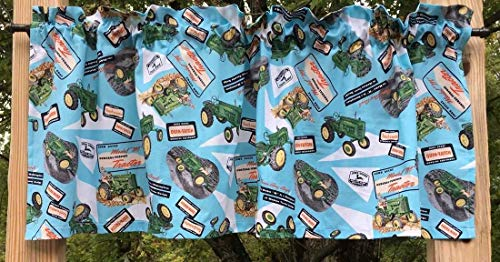 Country Farm Tractor Collage Farmhouse Cotton Handcrafted Curtain Valance