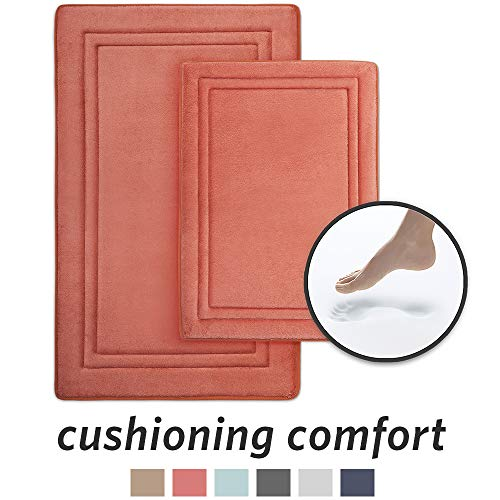 MICRODRY Quick Drying Memory Foam Framed Bath Mat with GripTex Skid-Resistant Base 2-Piece Set, Includes 17x24 Mat & 21x 34 Mat, Coral