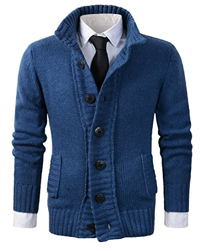 Benibos Men's Button Point Stand Collar Knitted Slim Fit Cardigan Sweater (M,CYMY Blue)