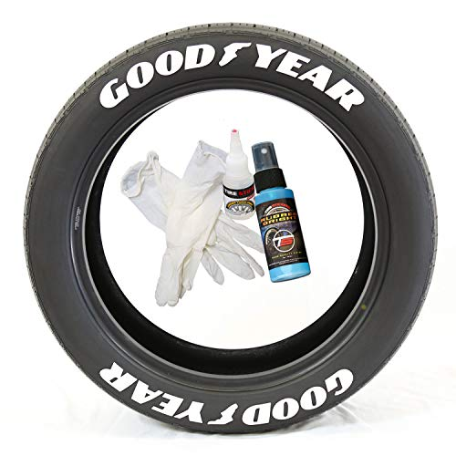 (Tire Stickers Goodyear with Wing Foot - DIY Permanent Rubber Tire Lettering Kit with Glue & 2oz Touch-Up Cleaner / 14-16 Inch Wheels / 1.25 Inches/White / 8 Pack)