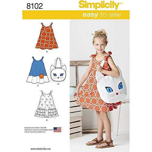 Girls Dress Simplicity - Simplicity Creative Patterns Simplicity Patterns Child's Easy-to-Sew Sundress and Kitty Tote Size: A (3-4-5-6-7-8), 8102