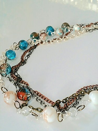 "she's Trouble ""I Want it All"" choker necklace. Multi chain with glass beads and sterling silver accents."