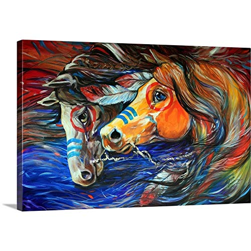 (GREATBIGCANVAS Gallery-Wrapped Canvas Entitled Three Feathers Indian War Ponies by Marcia Baldwin 36