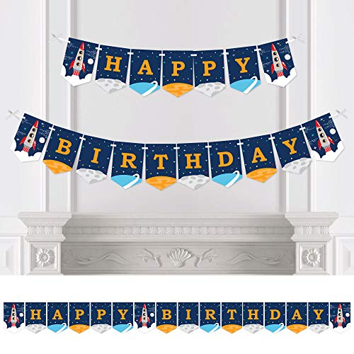 Big Dot of Happiness Blast Off to Outer Space - Rocket Ship Birthday Party Bunting Banner - Birthday Party Decorations - Happy Birthday