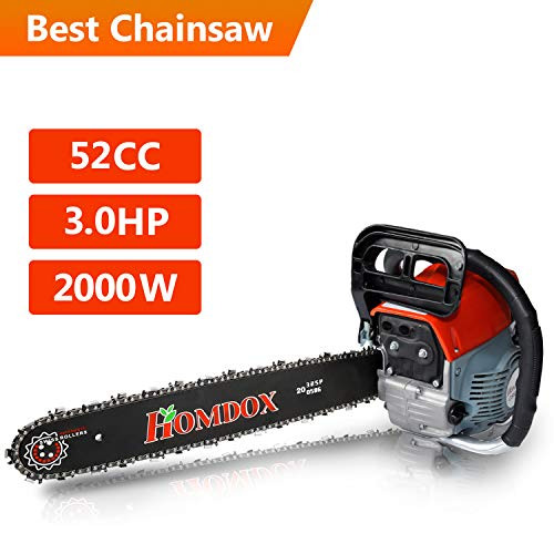 Homdox 52CC Chainsaw, 3.0HP Gas Powered Chian Saw 20 inch Powerful Chainsaws, Easy to Start with Tool Kit (52CC R)