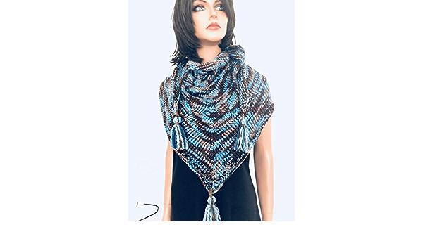 Hand  Knits 2 Love Shawl Wrap Designer Fashion Fringes Denim Blues Ombre Four Seasons Gift Birthday Shower Cowl Hip Western Female Soft Cozy
