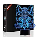 Fox 3D Xmas Decoration Illusion Night Lamp Beside Table Lamp, Gawell 7 Color Changing Touch Switch Halloween Gift Lamps with Acrylic Flat & ABS Base & USB Cable Fox Lover Theme Toy