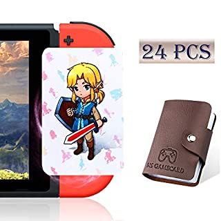[Newest Standard Version] 24 Pcs with Zelda Link's Awakening Botw NFC Cards for The Legend of Zelda Breath of The Wild Switch/Wii U- 24 Pcs (Not Official Amiibo) with Card Holder