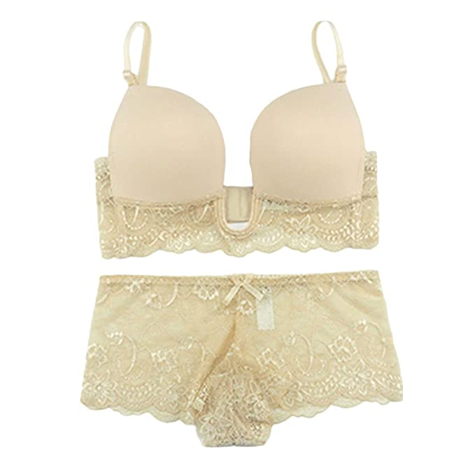 Zhhlinyuan Casual Ladies Ropa interior Retro Underwear Breathable Lace Smooth Thin Cup Deep V Bra Set