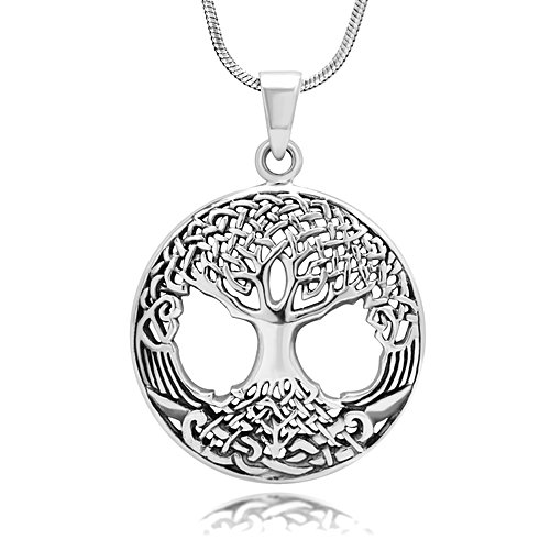 Celtic Tree Of Life (925 Oxidized Sterling Silver Celtic Knot Ancient Tree of Life Round Pendant Necklace, 18)