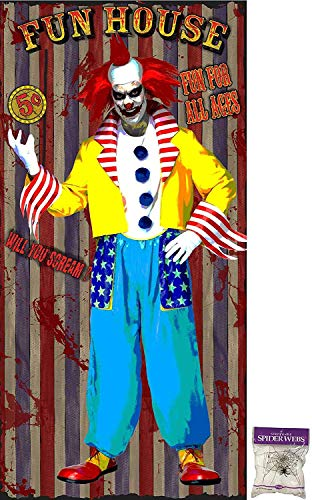 Potomac Banks Bundle: 2 Items - Door Cover Fun House Clown with Free Spider Web (Comes with Free How to Live Stress Free Ebook)]()