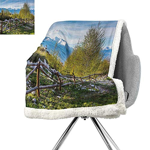 Farm House Decor Lightweight Fluffy Flannel and Sherpa Blanket,Idyllic Scene with Tree Trunk Plank and Snow Mountain Range The Alps Photo,Green Blue,Soft Premium Cotton Thermal ()