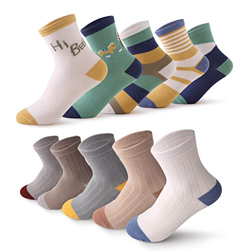 10 Pairs Assorted Non-Skid Ankle Cotton Socks For Kids Toddlers Baby Girls (Cotton 1 Socks And Crew)