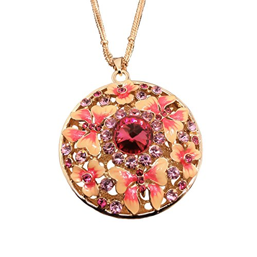 QTMY 14k Gold Cloisonne Enamel Pendant Necklace Butterfly Crystal ...