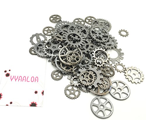 Y&Y Star Assorted Alloy Round Clock Steampunk Gears Charms Pendant Clock Watch Wheel Gear For Crafting,Jewelry Making Accessory