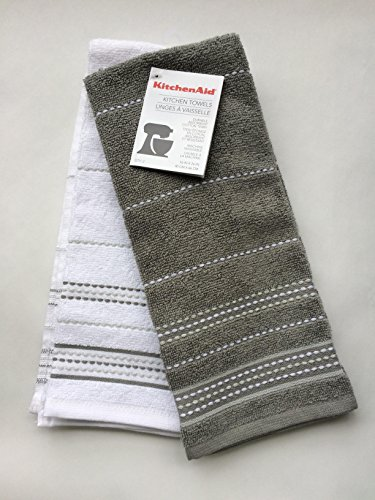 KitchenAid gray and white kitchen towels two pack