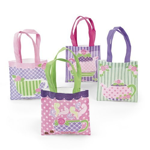 Tea Party Tote Bag Assortment 1 dz