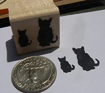 2 gatos en miniatura de silueta de goma sello P24: Amazon.es ...