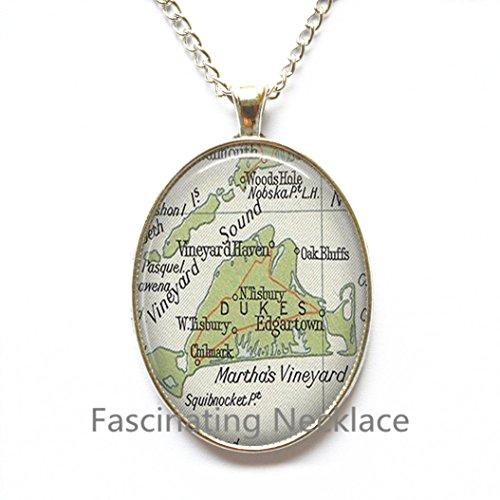Charming Necklace,Martha' Vineyard charming map Pendant, map jewelry resin Pendant, map Necklace photo Pendant,A0317 -