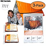 Mylar Survival Shelter Tent 2 Person and Emergency Blankets (2-Pack) Set Ultralight Waterproof Heat Reflective Gear For Hiking, Camping, Outdoor Emergency Kits