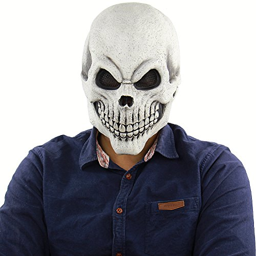 Halloween Scary Mask Costume for Men Women Kids Deluxe Overhead Mask White Skull Mask Morris Studios Men's Death Skull Bones Full ()