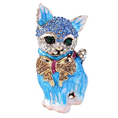 (EVER FAITH Plump 3D Cat Pet Austrian Crystal Enamel Brooch Gold-Tone Blue)