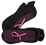 Crescent Moon ExerSocks Non-Slip Grip Socks, Pink Ribbon, Large, 3 Piece